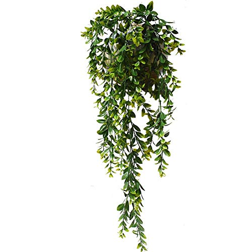 Artificial Hanging Vines Plants Plastic Fake Trailing Weeping Ivy Vine Greenery Drooping Plant for Wall Indoor Outside Garden Wedding Hanging Pot Basket Decoration (1pcs, 02)