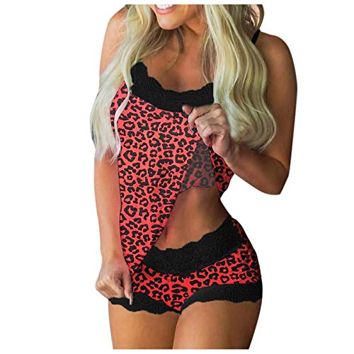 ddfd Pijamas con Estampado de Leopardo para Mujer, Pijamas Seductores sin Mangas de Verano de Dos Piezas, Conjunto de Pijamas de Tirantes Cortos de Encaje Sexy