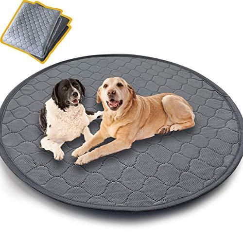 Colchoneta para mascotas lavable, reutilizable, almohadilla rosa para perros, 90 cm, redonda, impermeable, para perros, almohadillas antideslizantes para mascotas, grandes y absorbentes para viajar