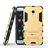 Heartly Graphic Kickstand Hard Dual Rugged Armor Hybrid Bumper Back Case Cover for Meizu M3s - Mobile Gold