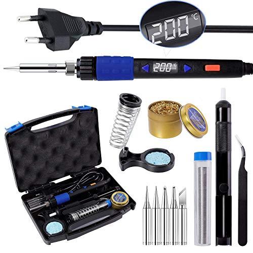 Lötkolben Set, LYLIN 90-480℃ Einstellbarer Temperatur 65W Professionell Lötkolben mit LED Digital Temperatur-Anzeige Automatische Schlaffunktion, Temperaturkorrekturfunktion