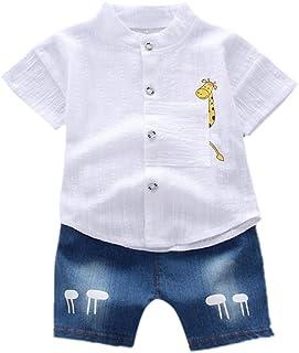 FASHION Hopscotch Boys Cotton Shirt and Short Set in White Color