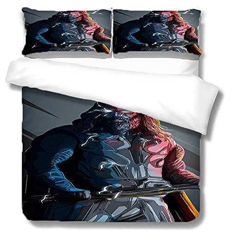 Eenpersoons beddengoed Sets - Thor Comic Hero - Dekbedovertrek + 2 kussenslopen - 3D-print, hypoallergeen, met ritssluiting (135x200, 50x75 of 50x90cm)
