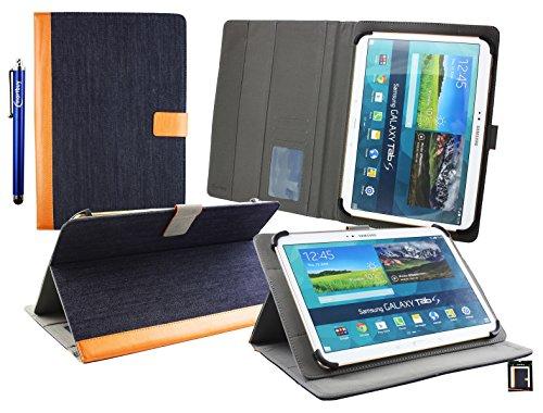 emartbuy® YunTab 3G Tablet 10.1 Zoll Universal Range (10-11 Zoll) Denim Blau Multi Angle Exekutiv Folio Mappen Kasten Abdeckung mit Kartensteckplätze + Eingabestift