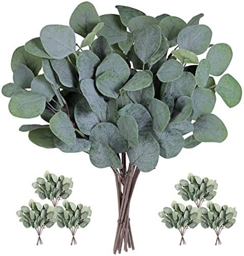 Artificial Silver Dollar Eucalyptus Leaves Garland, Eucalyptus Plant Branches for Wedding Decoration Holiday Greenery Decor, 24PCS