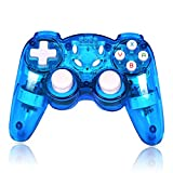 Wireless Switch Controller, Soanufa Switch Wireless Controller, Built in with Turbo/Vibration/Motion Functions, Compatible with All Switch Systems Including Windows PC (Transparent Blue)
