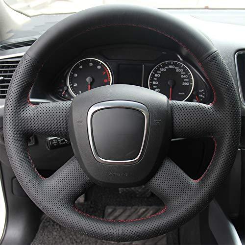 ZYTB Für SchwarzeAuto-Lenkradabdeckung für Audi altes A4 B7 B8 A6 C6 2004-2011 Q5 2008-2012 Q7 2005-2011,Red Thread