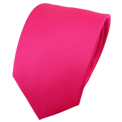 TigerTie Designer Krawatte pink knallpink leuchtpink einfarbig uni Rips - Binder Tie