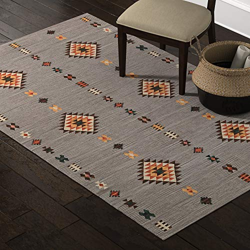 Amazon Brand – Stone & Beam Casual Geometric Cotton Area Rug, 5 x 8 Foot, Flatweave, Grey, Orange