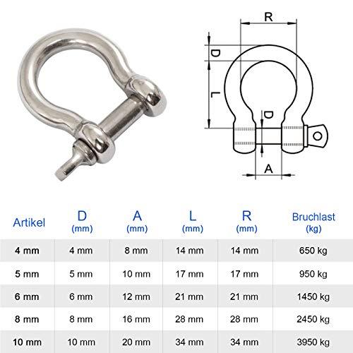 PRIOstahl® Schäkel geschweift - Edelstahl V4A Rostfrei VA A4 Zum Seegeln (1 Stück, M6)