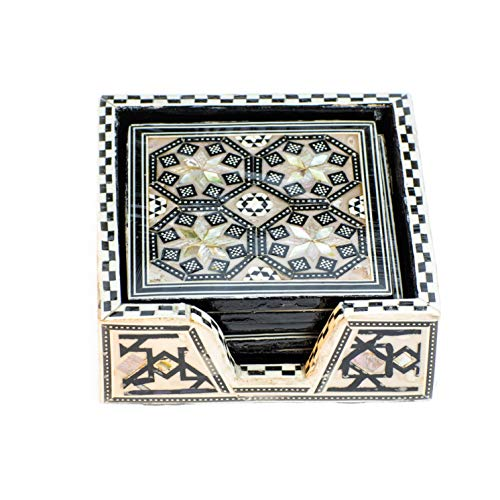 Arts of Egypt- Elegant Egyptian Inlaid Mother of Pearl 6 Coaster Set with Holder