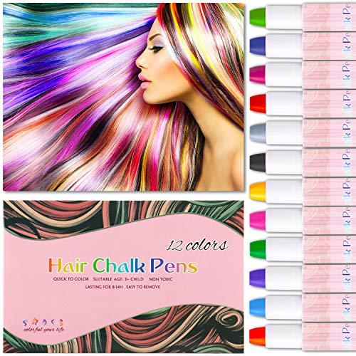 Haarkreide, Hair Chalk 12 Farben Auswaschbar Haarkreide 8 Paar Handschuhe mit 3 Glitzer und Kamm Temporäre Haarfarbe Ideal für Kinder Mädchen, Geschenke Geburtstag Karneval & Weihnachten