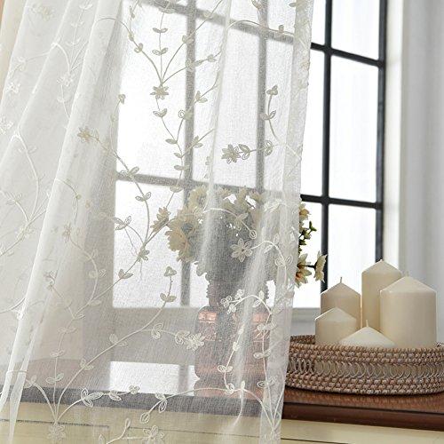 Baumwolle und leinen Gardine aus Voile, Fenster-schutthalden Stickerei Gaze Für Schlafzimmer Wohnzimmer Balkon Bay-Fenster Vorhänge-Weiß 150x230cm(59x91inch)