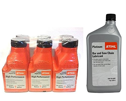STIHL 0781 319 8008 2.6 Ounce 2 Cycle Engine Oil 6 pack and Platinum Bar Lubricant Quart Bundle