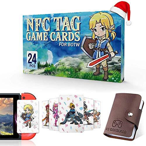 """24 Stück NFC Tag Spielkarten für """"The Legend of Zelda - Breath of The Wild"""" BOTW, TLOZ NFC Tag Spielkarten, Tragbarer Lederhalter mit Link's Awakening für Switch/Lite Wii U"""