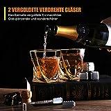 Hotrose Whiskeygläser Set, Geburtstagsgeschenk Set für Männer und Frauen, Kristall Wein Tassen Geschenkset mit 2 Gläsern, 6 Eiswürfelsteinen, 1 Gummizange - 5