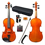 Paititi 4/4 Full Size Intermediate Level Plus Violin with Lightweight Case, Brazilwood Bow, Rosin Cake, Shoulder Rest, String and Mute (4/4)