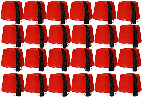 costume da bagno donna araba ILOVEFANCYDRESS 24 cappelli rossi KUKI FEZ accessori per costume da bagno con nastro nero