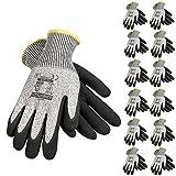 JORESTECH Safety Work Gloves Grey HPPE Knitted Fiber with Black Nitrile Sandy Finish Coating EN-388 Level 5 Pack of 12 GD-03 (Size 9-L)