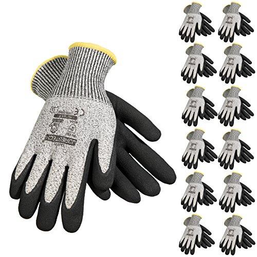 JORESTECH Safety Work Gloves Grey HPPE Knitted Fiber with Black Nitrile Sandy Finish Coating EN-388 Level 5 Pack of 12 GD-03 (Size 8-M)