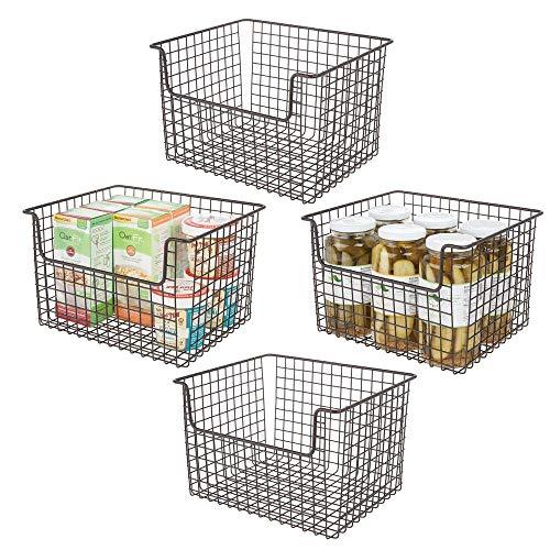 mDesign Juego de 4 cestas organizadoras multiusos en alambre de metal – Versátil organizador de cocina, despensa, etc. – Cesta de metal con asas para todo tipo de almacenaje – color bronce