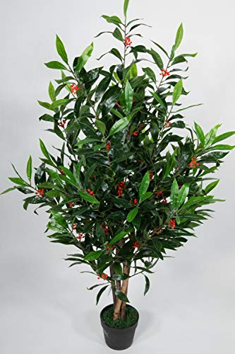 Seidenblumen Roß Lorbeerstrauch mit Früchten 130cm ZJ künstlicher Lorbeer Lorbeerbaum Baum Kunstbaum Kunstpflanzen