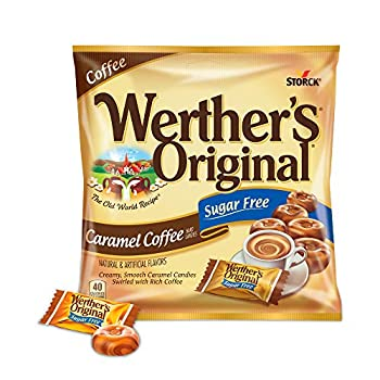 WERTHER S ORIGINAL Sugar Free Caramel Coffee Hard Candy Individually Wrapped Candy 2.75 Ounce Bag  Pack of 12