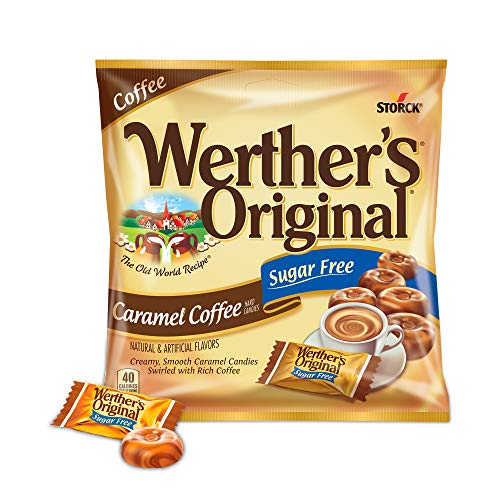 WERTHER'S ORIGINAL Sugar Free Caramel Coffee Hard Candies, 2.75 Ounce Bag (Pack of 12), Hard Candy, Bulk Candy, Individually Wrapped Candy Caramels, Caramel Candy Sweets, Bag of Candy, Hard Candy Bulk