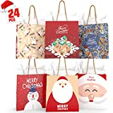 KIDPAR Christmas Bags 9''x7''x3.5'' 24 Piece Bags & 24 Tissue Papers for Christmas Holiday Party