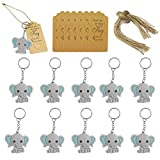 20 Pcs Baby Shower Return Gifts for Guests,Blue Baby Elephant Keychains+Thank You Kraft Tags for Birthday Party Supplies