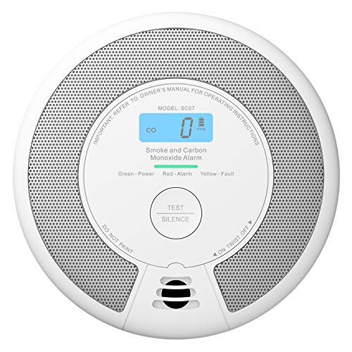 X-Sense Rauchmelder und CO Melder, 2 in 1 Alarm, 10 Jahrer Rauch-Kohlenmonoxid Melder, mit LCD Anzeige und Prüftaste, 360°Überwachung, Auto-Überprüfung, SC07