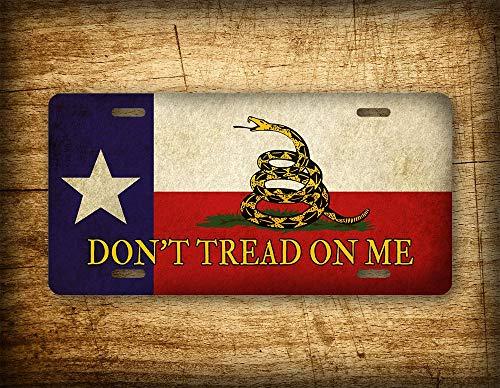 Fhdang Decor Don't Tread On Me Texas State Flag Nummernschild Americana Gadsden Tea Party Patriotische Vintage American Auto Tag USA