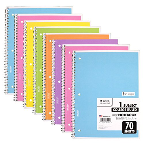 Mead Spiral Notebook, 8 Pack of 1-Subject College Ruled Spiral Bound Notebooks, Pastel Color Cute school Notebooks, 70 Pages