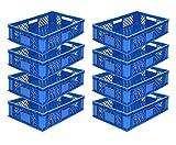 8x Eurobehälter/Stapelkorb/Bäckerkisten, Grundmaß 600x400x150 mm. Eurobox stapelbar aus Kunststoff in TOP-Qualität - Made in Germany (Blau)