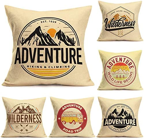 ShareJ Mountains Pillow Covers Vintage Wilderness Adventure Camping Forest Throw Pillow Covers product image
