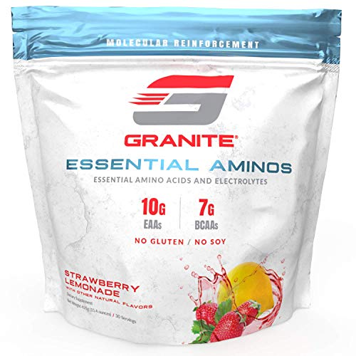 Granite® Essential Amino Acids + Branched Chain Amino Acids + Electrolytes (Strawberry Lemonade Flavor) | 10g EAAs + 7g BCAAs | Supports Muscle Growth | Soy Free + Gluten Free + Vegan | Made in USA