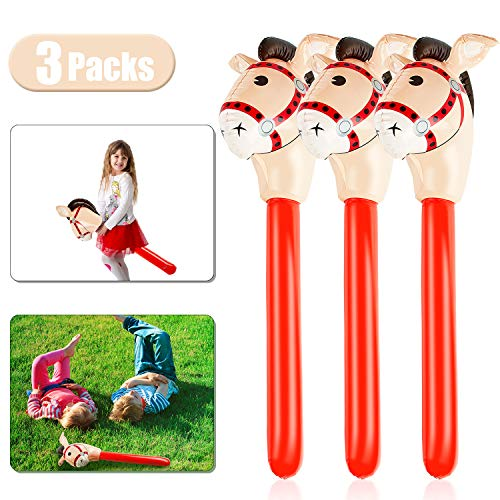 3 Pieces Inflatable Stick Horse Inflatable Horsehead Stick for Theme Party Decoration, 37 Inches