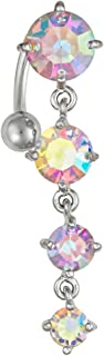 Sexy Reverse Mount Dangle Belly Button Ring with Cascade of Aurora Borealis Crystal Gems