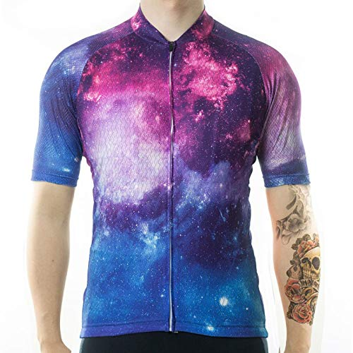 HDDNZH Mens Cycling Jersey - Summer Short Sleeve Blue Starry Sky Printing Top Shirt Quick Dry Mtb Bicycle Clothing Bike Wear Clothes Jersey For Racing Road Cycling Mountain Sportswear,L