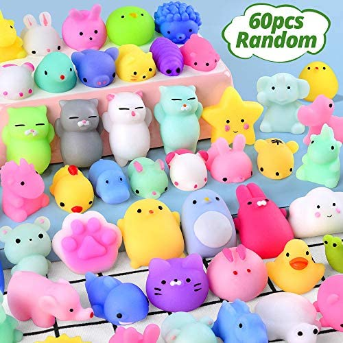 60PCS Mochi Squishy Toys FLY2SKY Party Favors for Kids Mini Squishy Animal Squishies Toys Squeeze Kawaii Squishy Stress Relief Toys Easter Bunny Cat Unicorn Squishy gifts for Boys & Girls Random