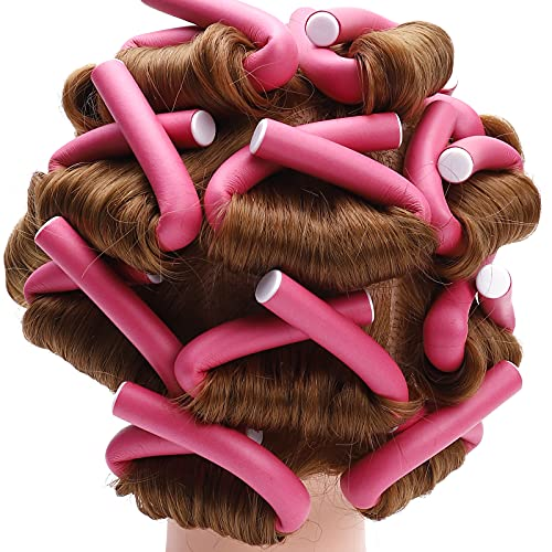 Flexi Curling Rods,Hair Twist Flexi Rods 30pcs Extended version 9.45''x0.71'' Twist Foam Hair Roller Set No Heat Hair Rollers for Women,For Girls Long Hair with Portable Bag and Comb(Pink)