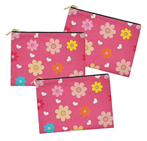 S4Sassy Rose Dot, Coeur et Artistique Floral Trousse multifonctionnelle Trousse à Maquillage Trousse à Maquillage Paquet de 3-6 x 8 Pouces
