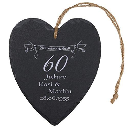 Schieferherz – Diamantene Hochzeit (Natur): persönliches Schiefer Herz mit Namen personalisiert und Datum – Geschenkidee 60 Jahre Ehe, 60. Hochzeitstag, Diamanthochzeit