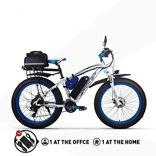 RICH BIT Electric Bike 1000W e-Bike RT022 48V 17Ah LG li-Battery 26 4.0 inch Fat Tires Suitable for Snow and Beach (Blue)