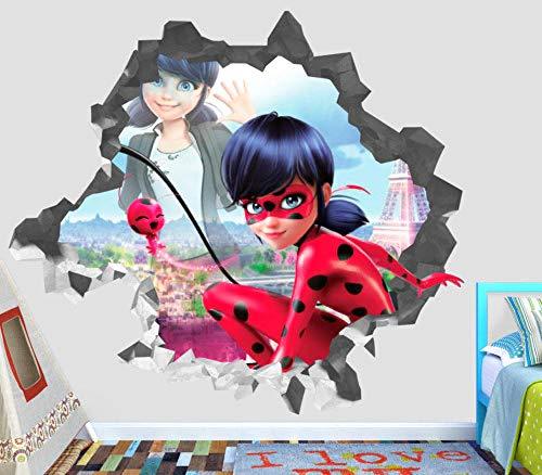 NYJNN WandtattooWonderful Tales of Ladybug Katzenwand Abriss zerstört 3D Aufkleber dekorative Vinyl