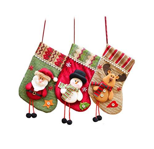 our fantasy time 3er Set super süß Nikolausstrümpfe Nikolausstiefel zum aufhängen/befüllen, Weihnachtssocke, Geschenke Weihnachtsstrumpf Nikolaus, Schneemann, Rentier hängen deko, Geschenk Beutel