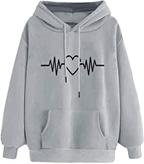 Women Electrocardiogram Print Long Sleeve Hoodie Casual Ladies Hooded Pullover Pocket Tops Blouse