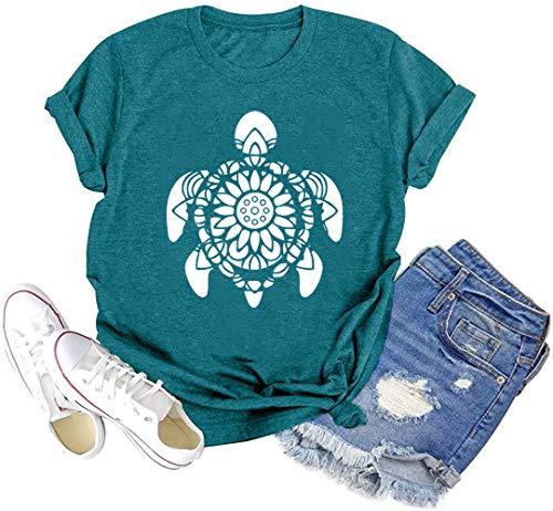 Women Turtle Shirts Flower Tortoise Vintage Tee Funny Yoga Short Sleeve Casual Tops (Sky-Blue, M)