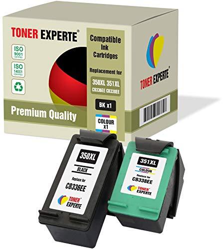 Pack de 2 XL TONER EXPERTE® Cartuchos de Tinta compatibles con HP 350XL 351XL Photosmart C4280 C4340 C4380 C4480 C4485 C4580 C4585 C5280 Deskjet D4260 D4360 Officejet J6424 J5780 J5785 (Negro, Color)