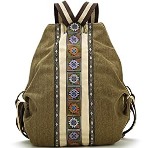 Women's Canvas Travel Backpack Daypack Casual Shoulder Bag